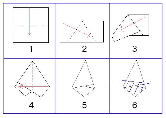 сложение бумаги в 12 раз для создания бумажной снежинки